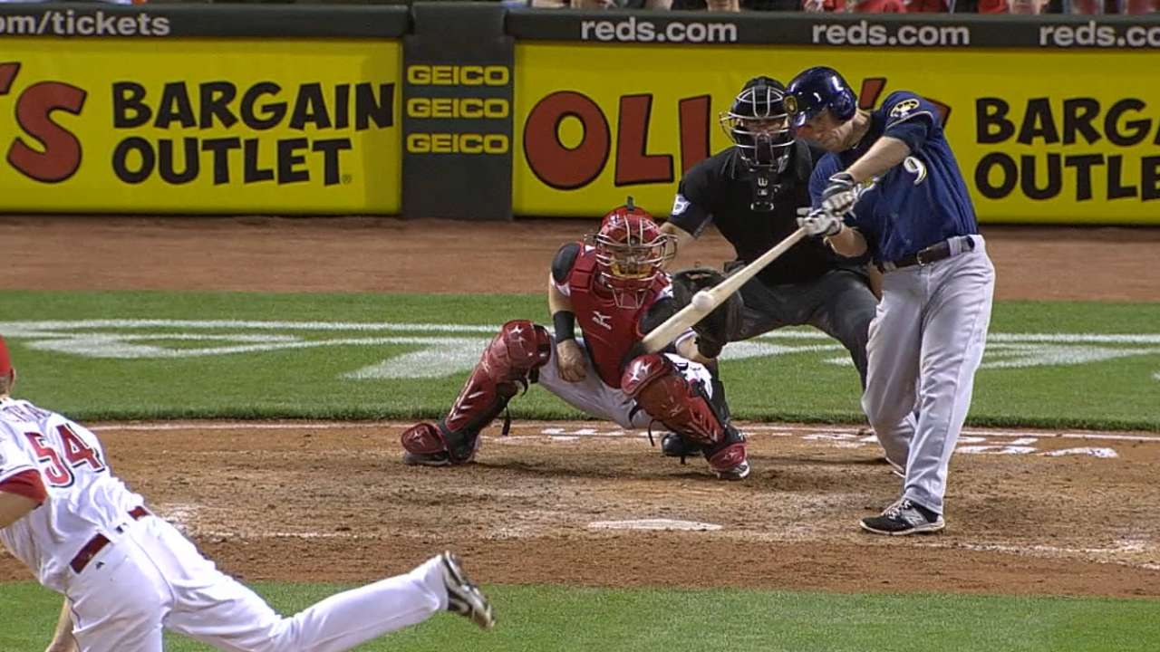 Hill's slam, big 10th lift Brewers over Reds