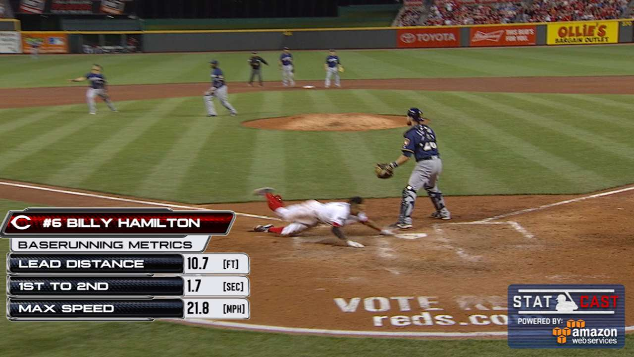 Hamilton scores from first on Votto's single