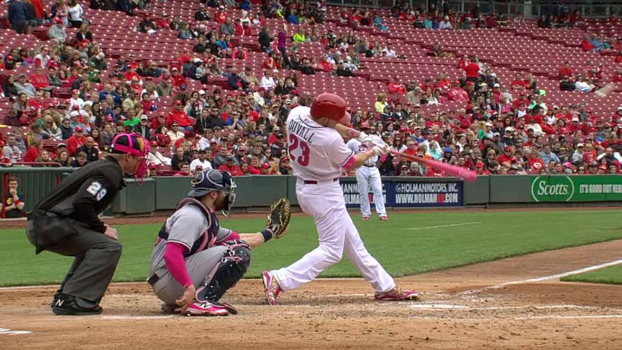 Duvall homers with pink bat, gifts to mom