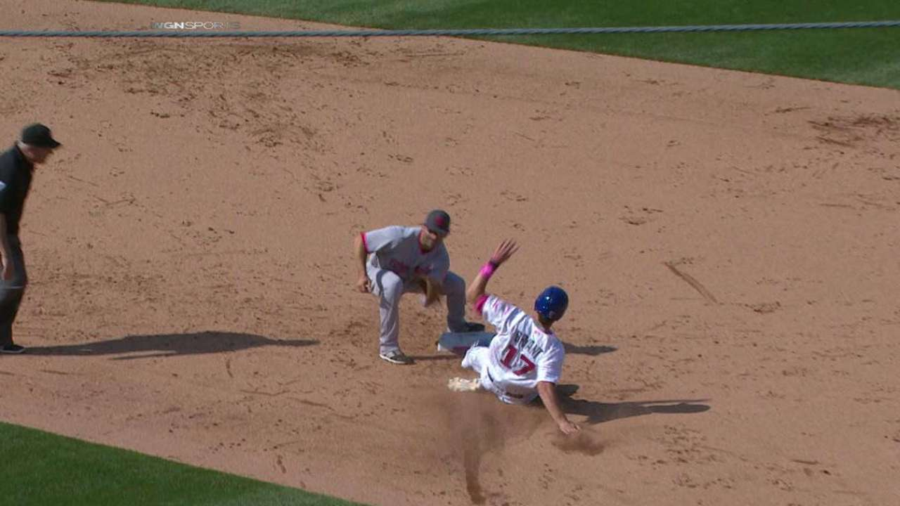 Bryant steals second base