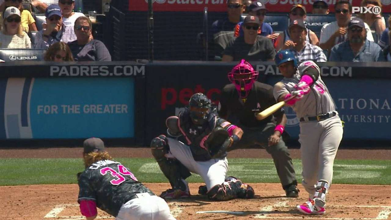 Mets fend off Padres, move into first in East