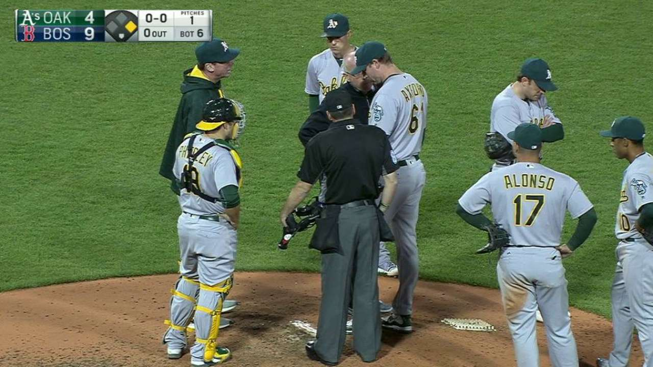 Axford gets hit, stays in game