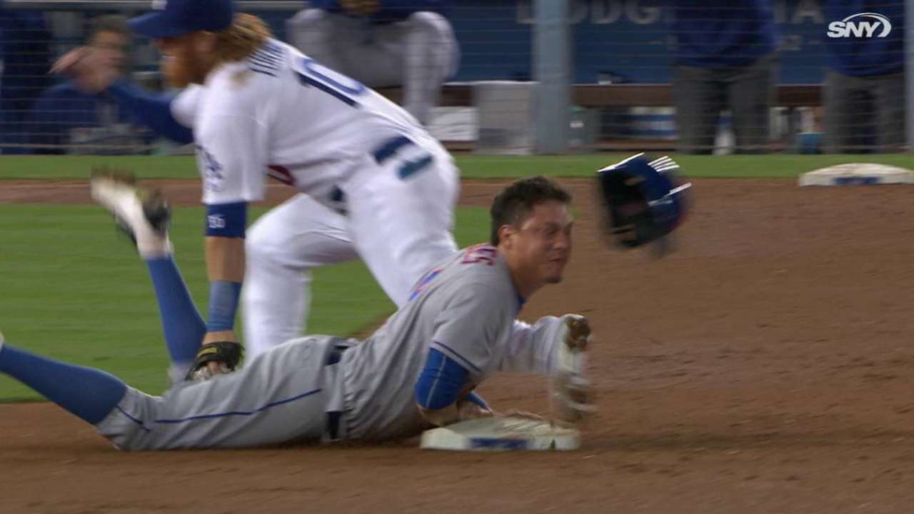 Flores steals, comes up bloodied