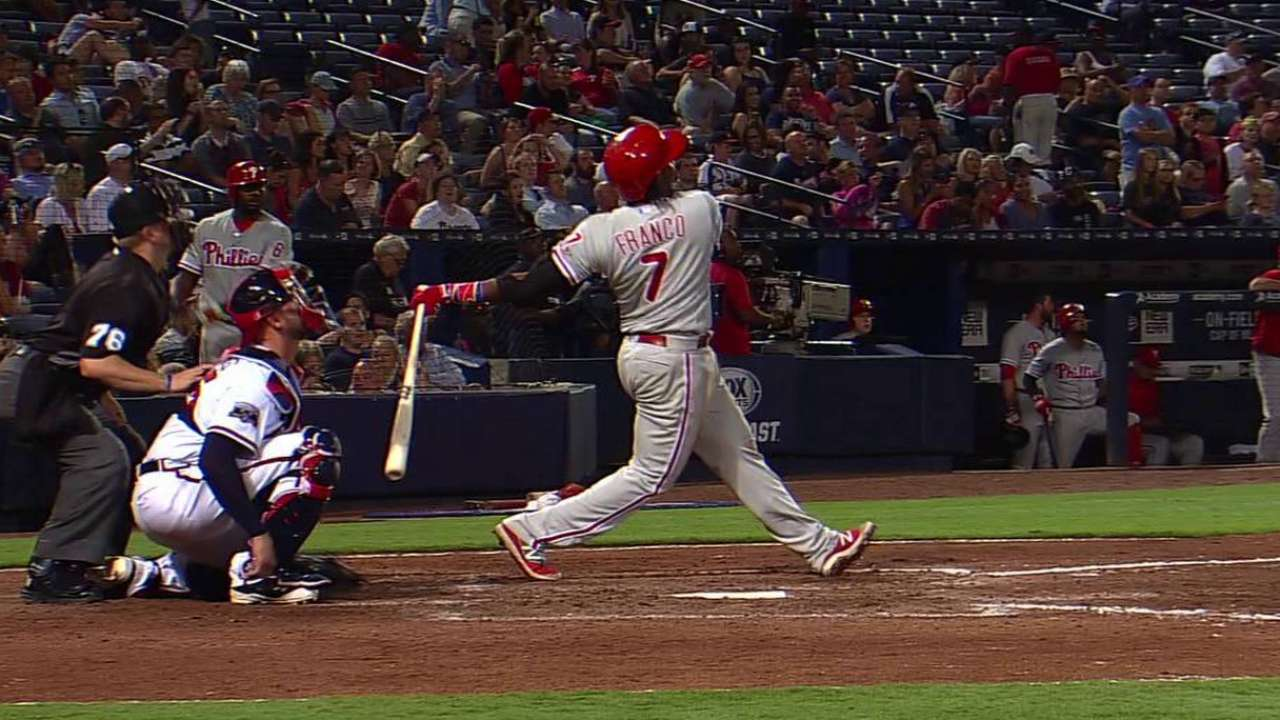 Franco's HR makes difference in win vs. Braves