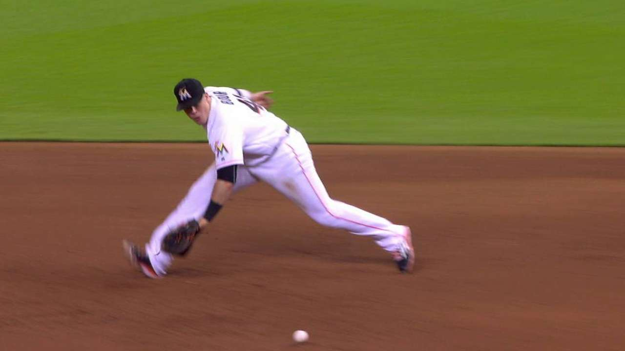 Bour boots the ball at first