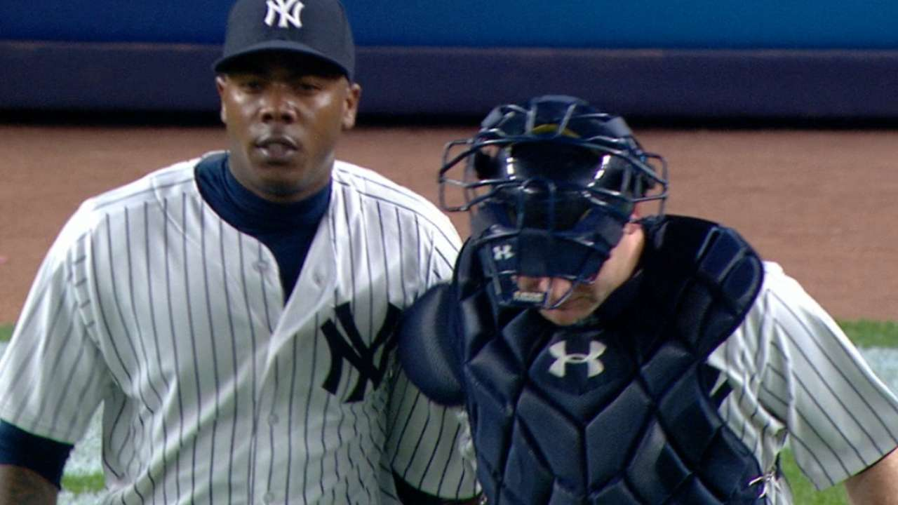 Chapman's first save with Yanks