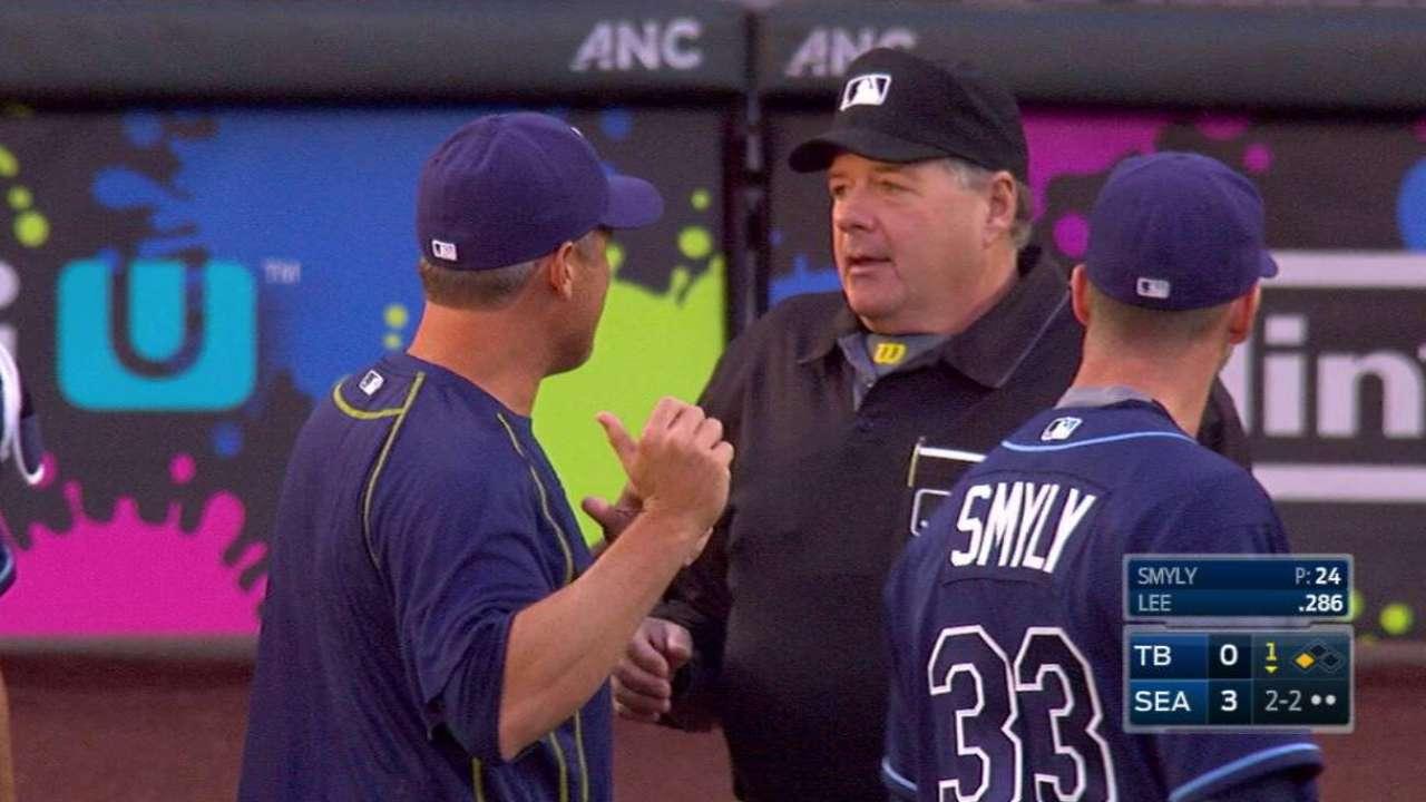 Umpire yells time, calls balk