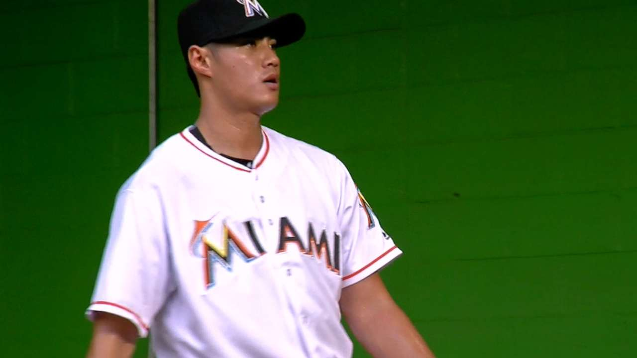 Chen's 12 K's, Bour's blast lift Marlins over Brewers