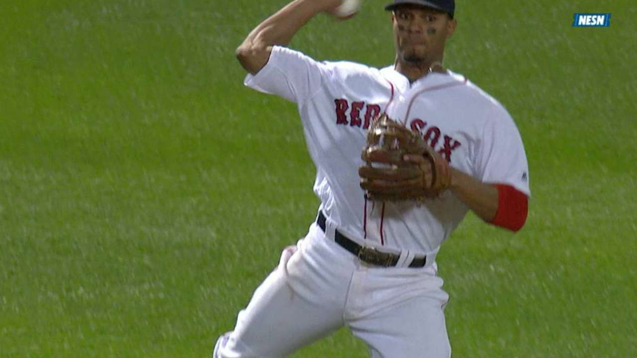 Bogaerts' leaping throw