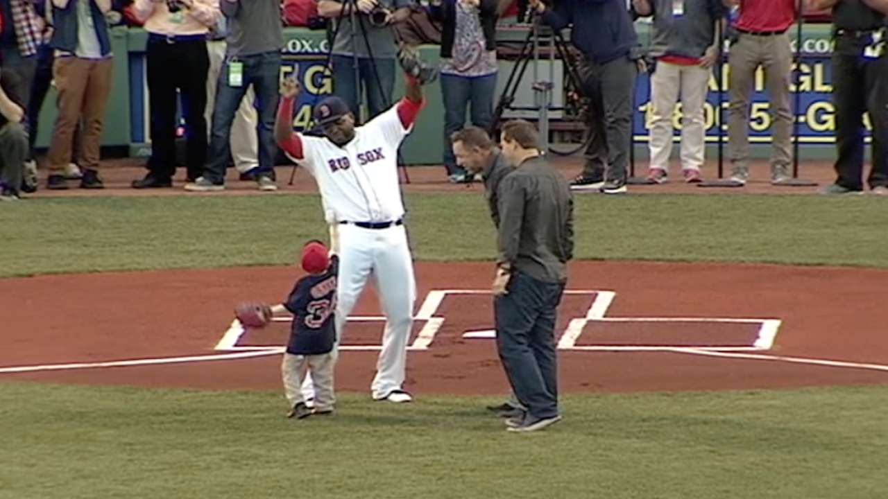 Schutte's first pitch to Papi