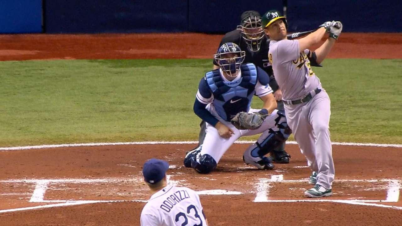 Athletics' four-home run barrage