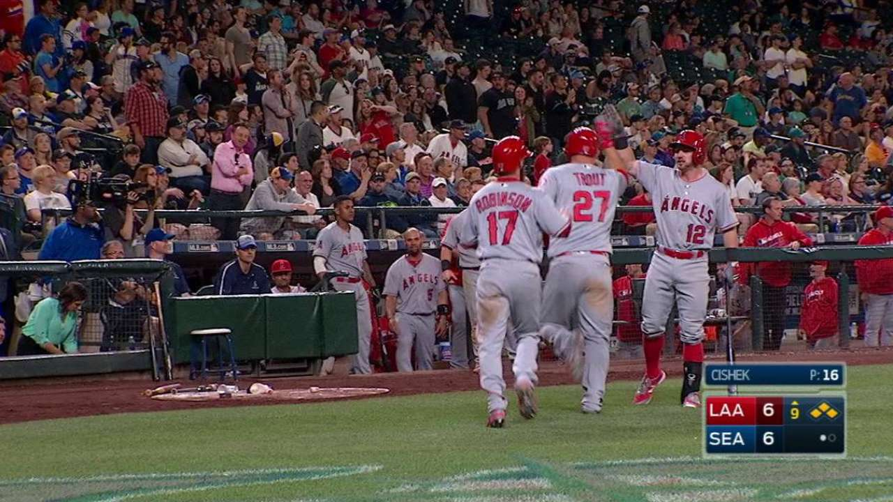 Angels snap skid with comeback in Seattle