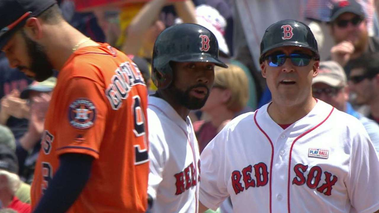 Batting second for a day, JBJ's streak at 20