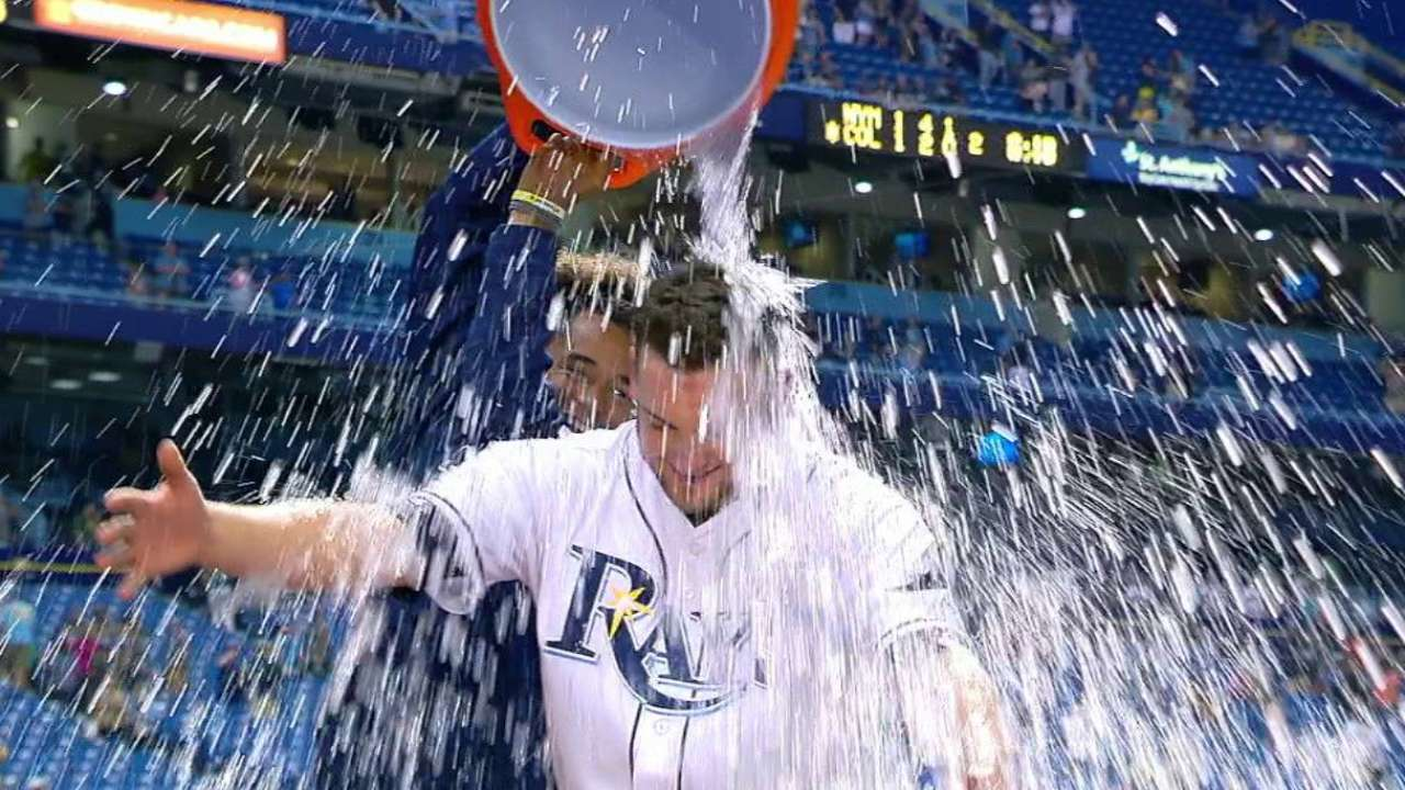 Andriese gets doused after game