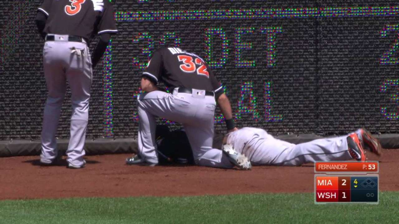 Marlins collide in outfield