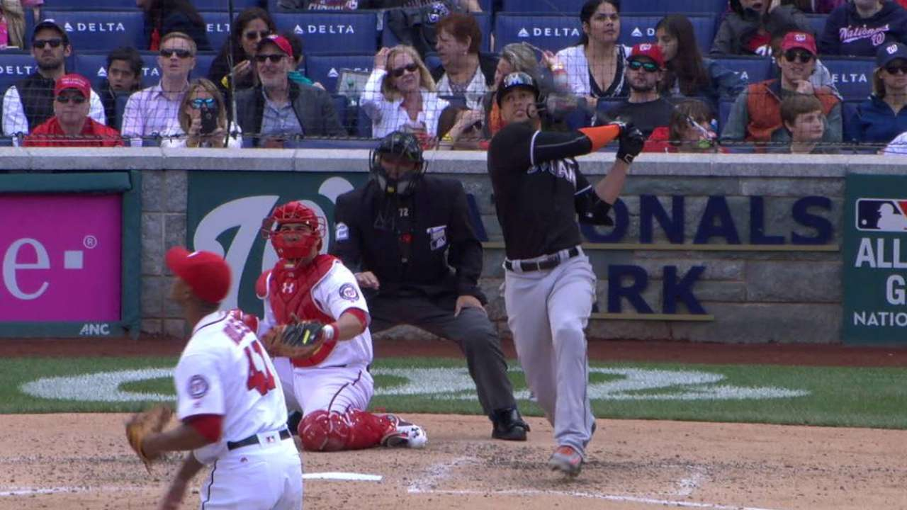 Stanton homers to right field