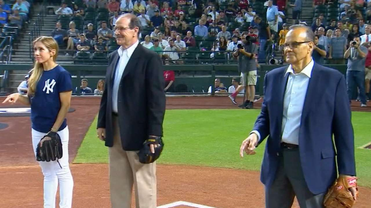 Torre, Brenly catch first pitch