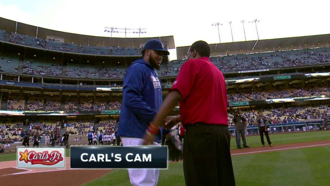 Carew throws out first pitch