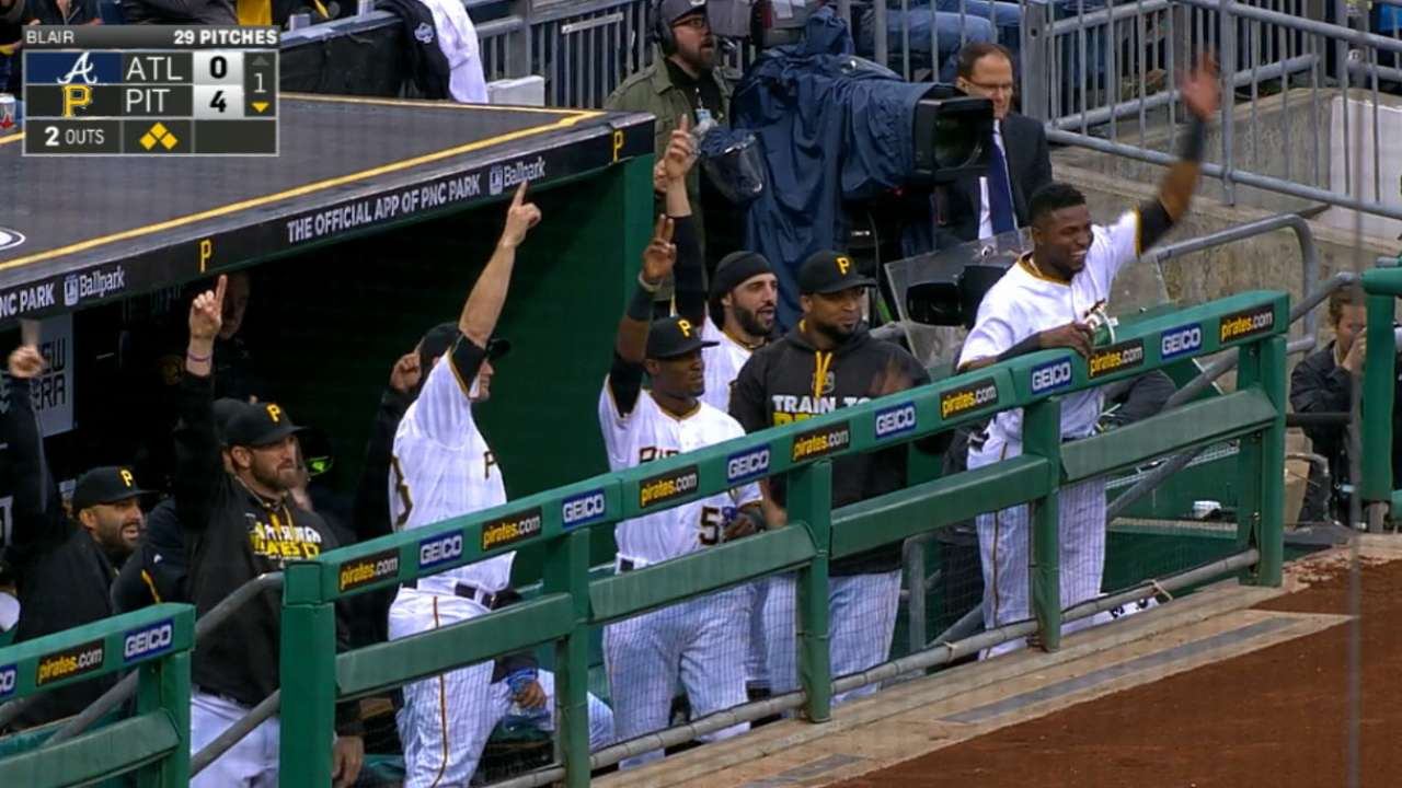 Pirates tally 12 runs to hold off Braves