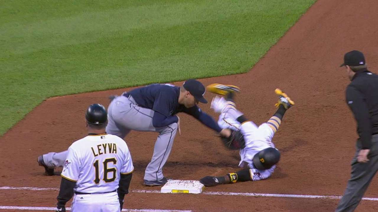 Harrison avoids the tag