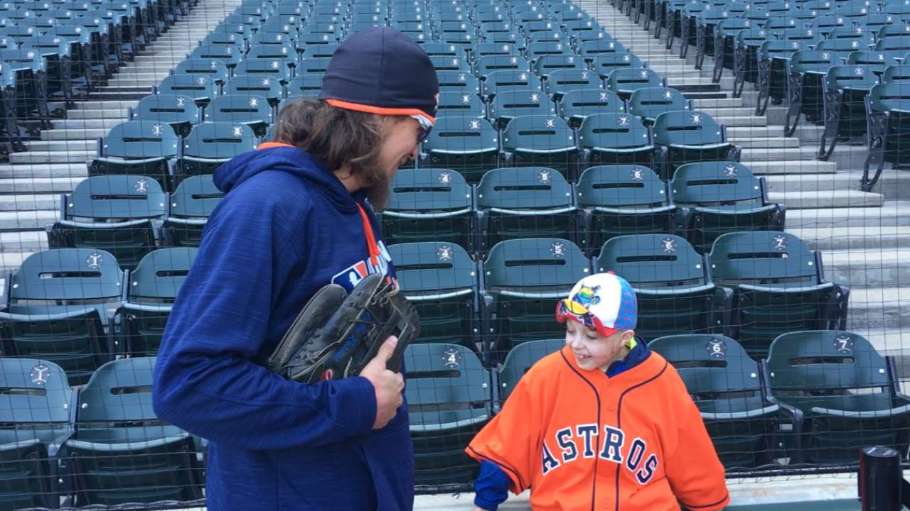 Rasmus spends time with special baseball fan