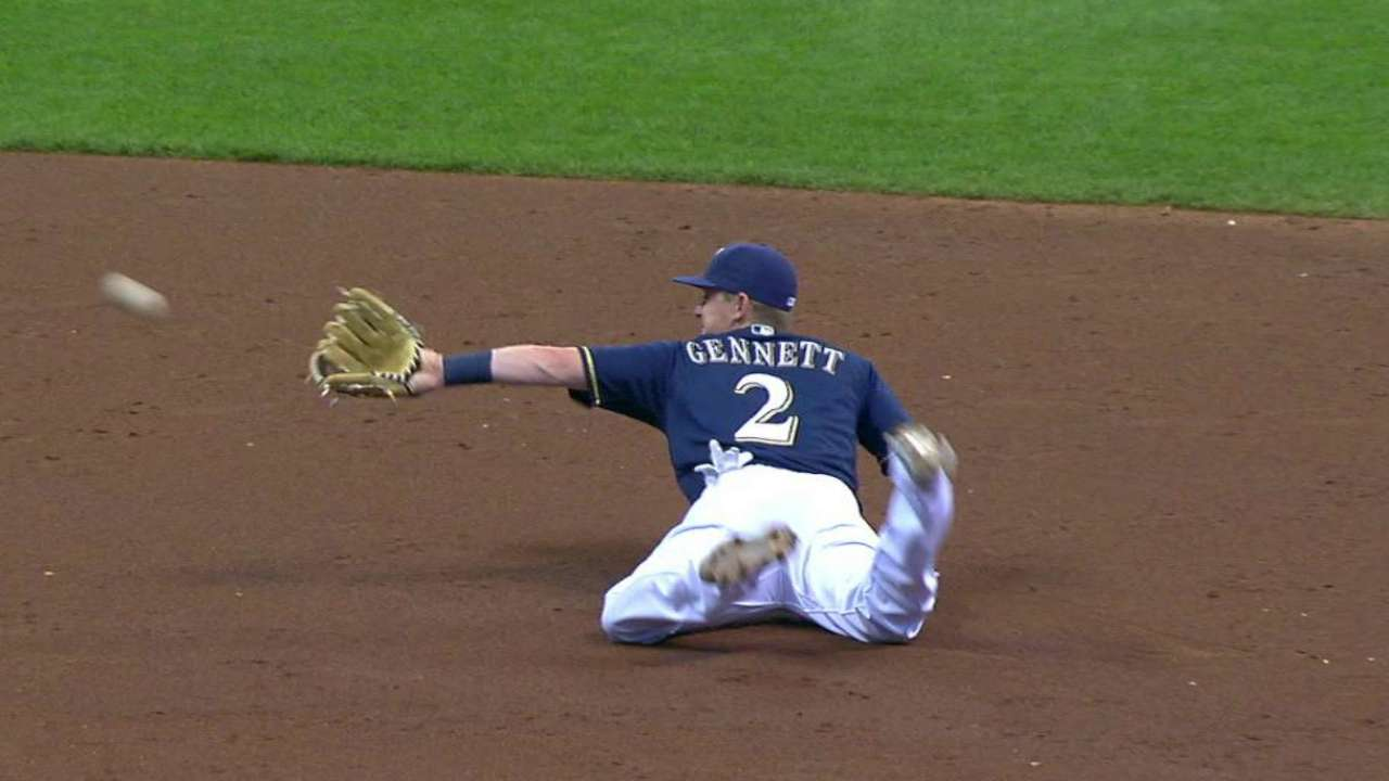 Brewers go glove-flip to barehand on DP