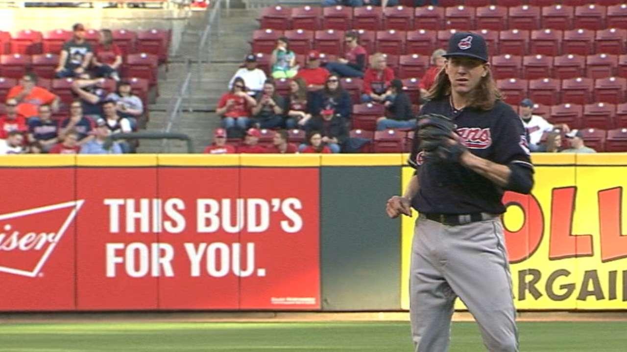 Clevinger gets nerves out of way in MLB debut