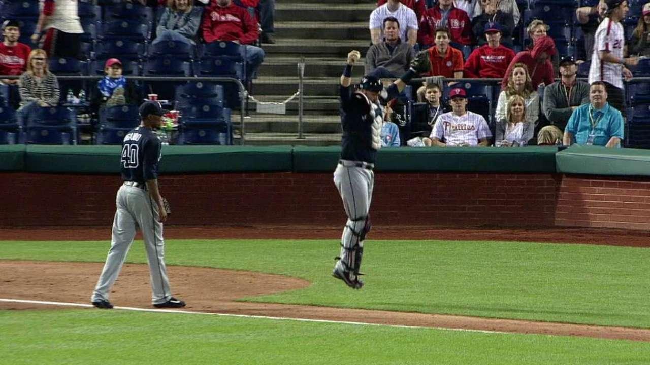 Pierzynski celebrates catch