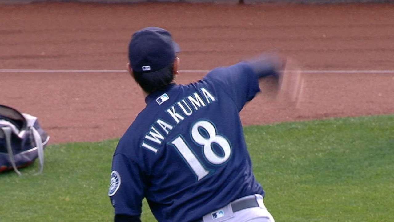 Iwakuma strikes out six in win