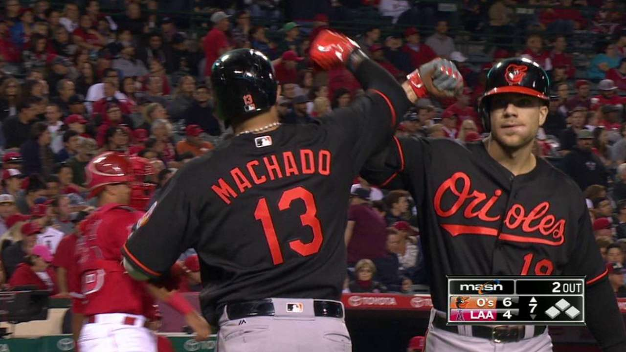 Home runs power O's over Angels