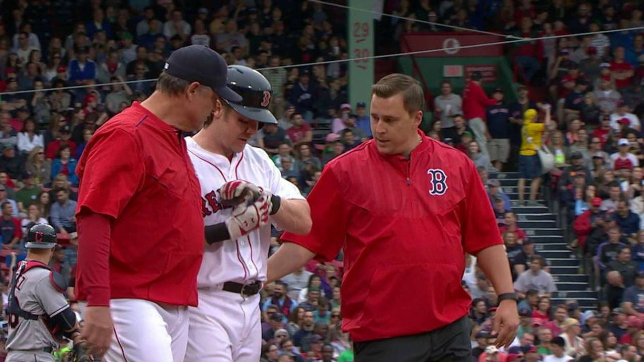 Hanigan gets hit by a pitch