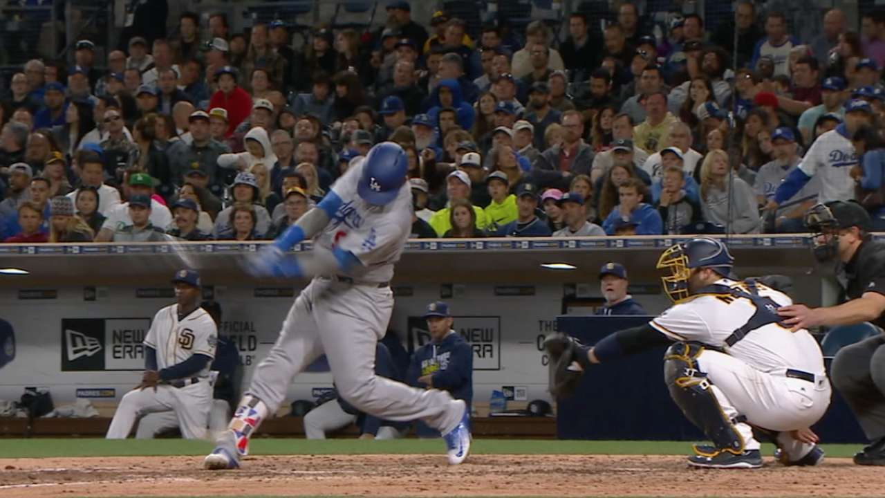 Grandal exits game after fouling ball off foot