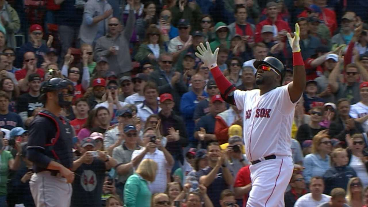 Ortiz's four hits, near cycle