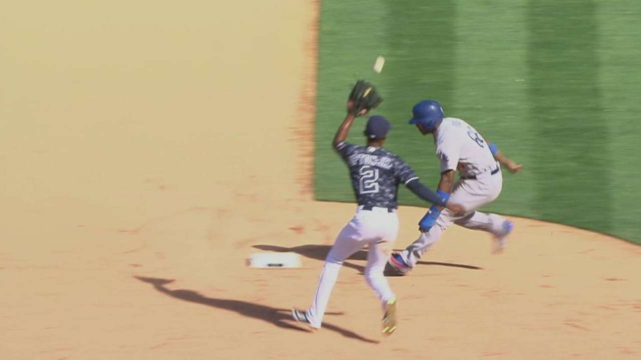 Puig doesn't go to third base