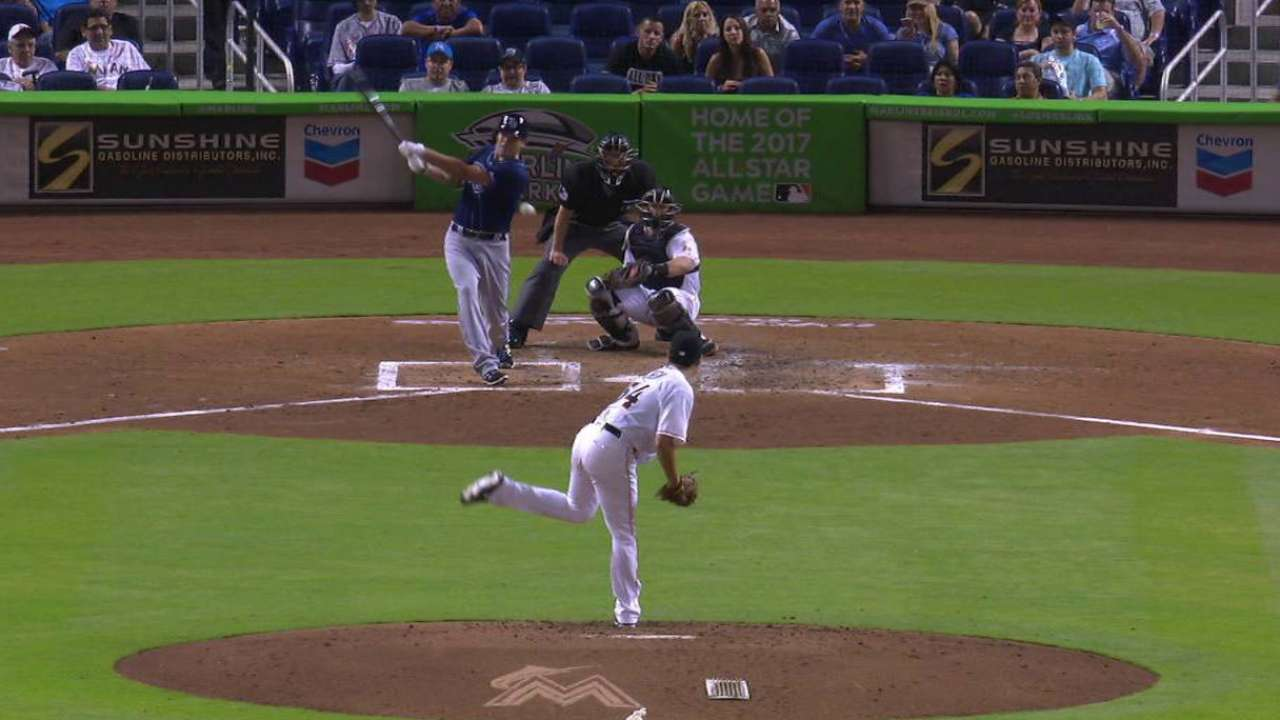 Moore collects first MLB hit