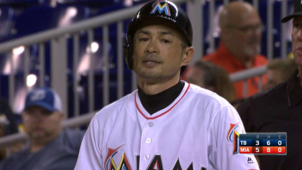 Ichiro's 4 hits energize Marlins past Rays