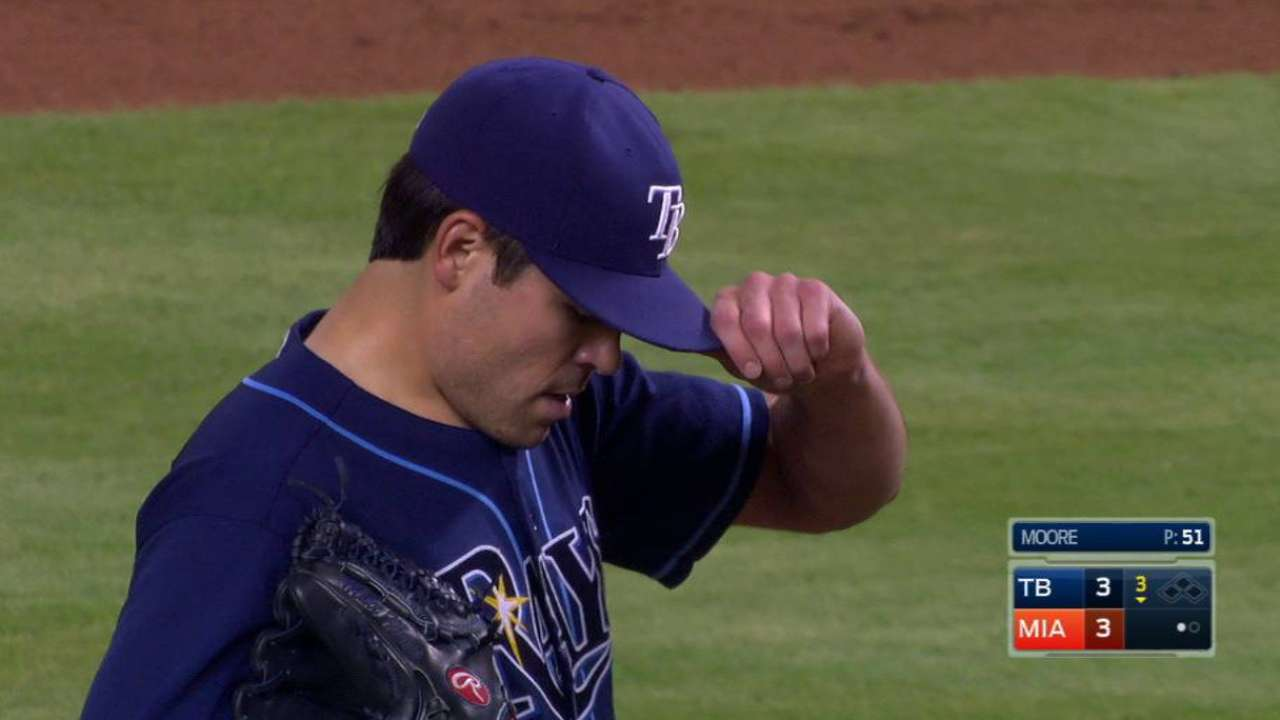 Moore's struggles continue in loss to Marlins