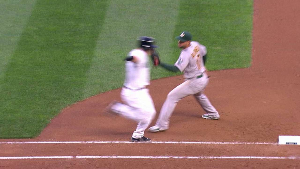 Semien throws out Seager