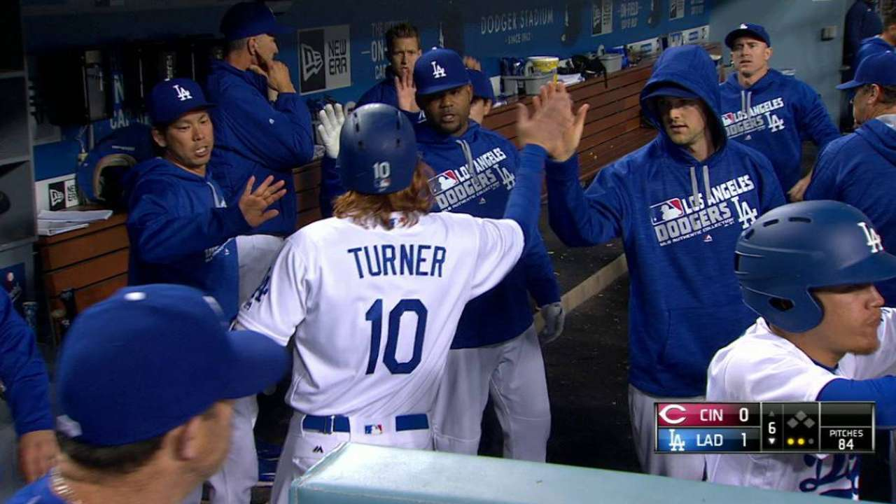 Turner scores on a double play