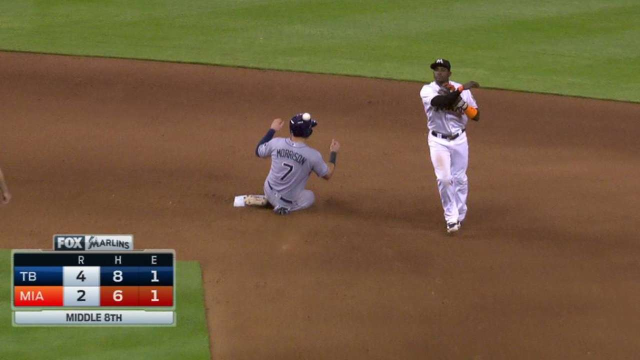Marlins turn a double play