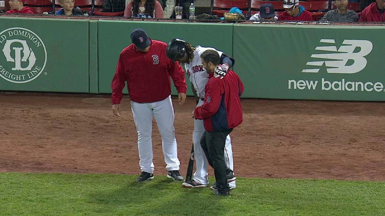 Hanley exits after taking pitch to toe