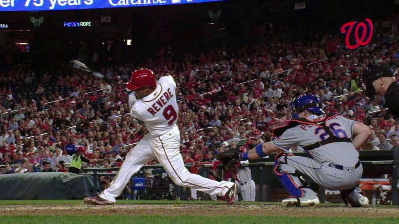 Rare power: Revere hits 5th career home run