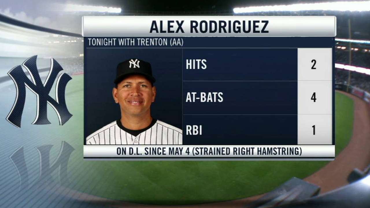 A-Rod has 2 hits at Double-A, reports no setbacks