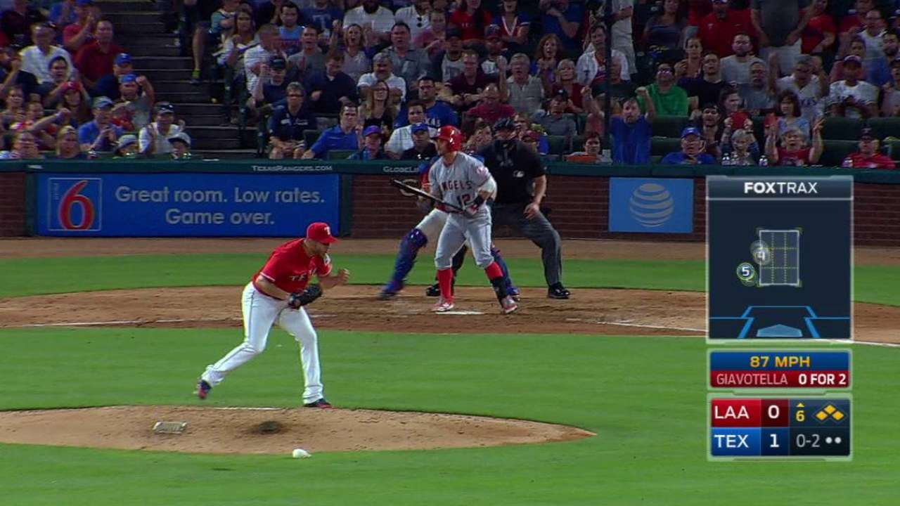 Perez puzzles Halos with 6th-inning escape