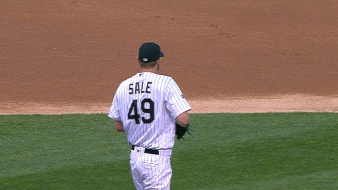 Sale strikes out seven