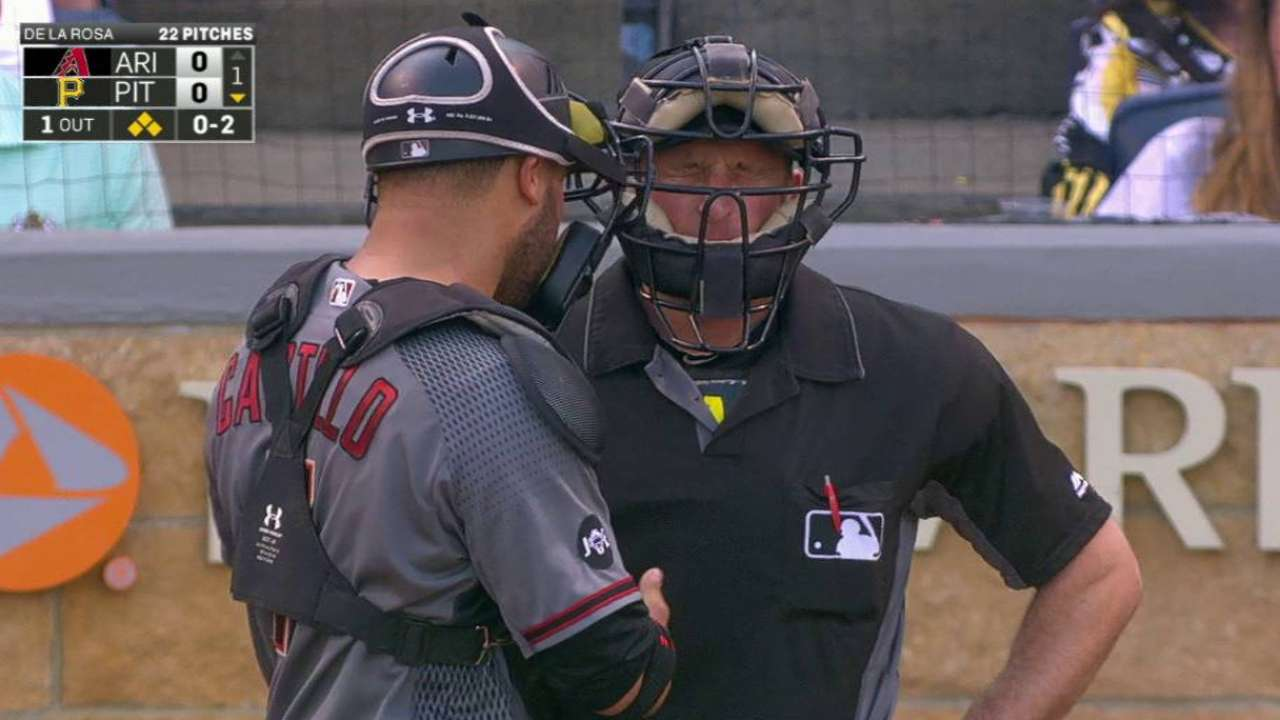 Umpire Guccione struck by foul, leaves game