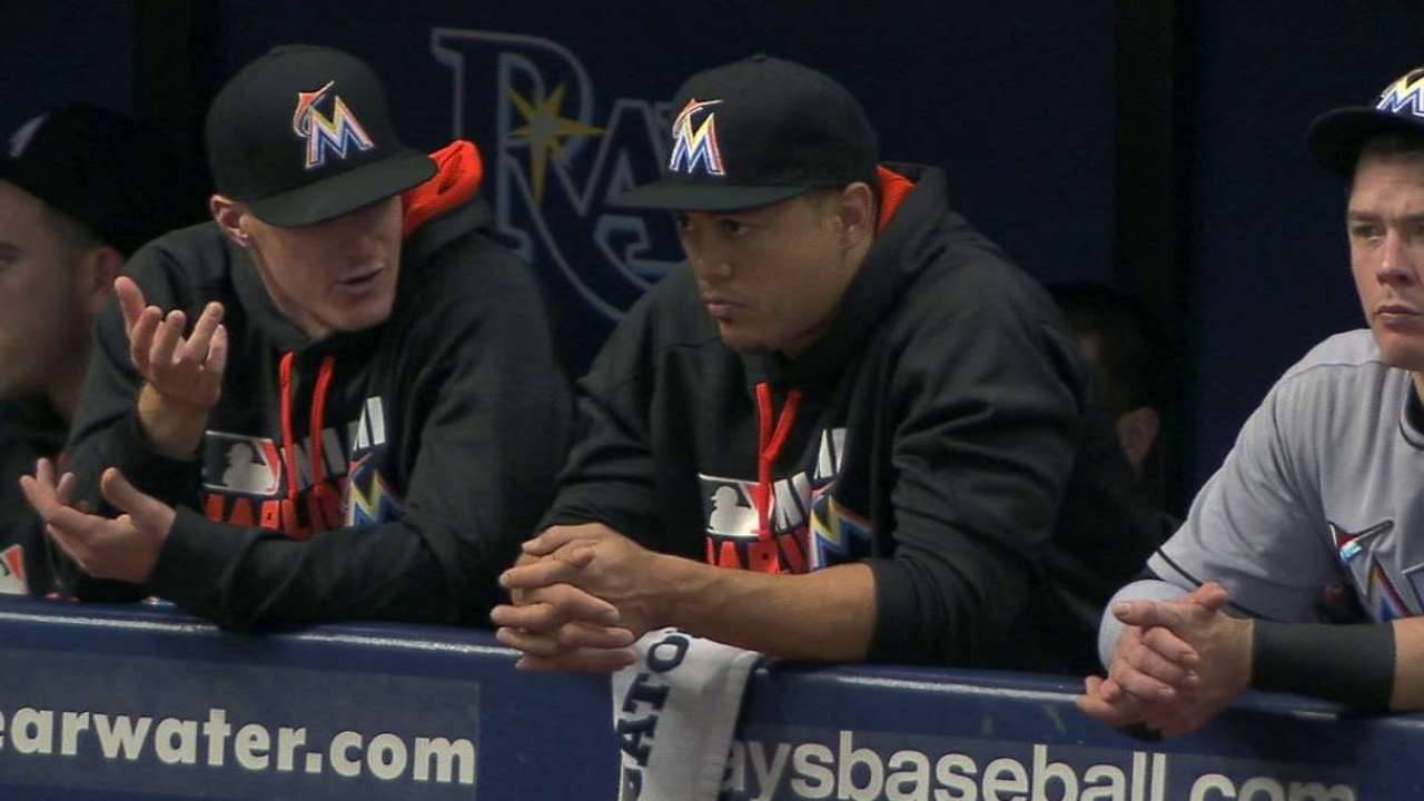 Stanton sits with sore side; Yelich back Friday?