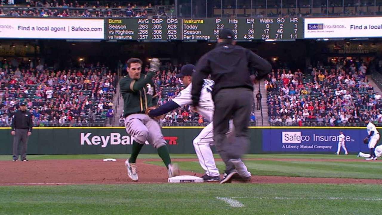 Cano throws Burns out at third