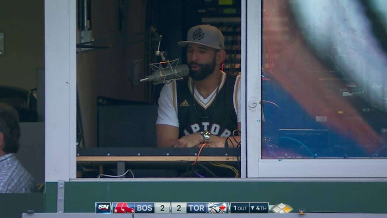 With night off, Bautista gets behind mic