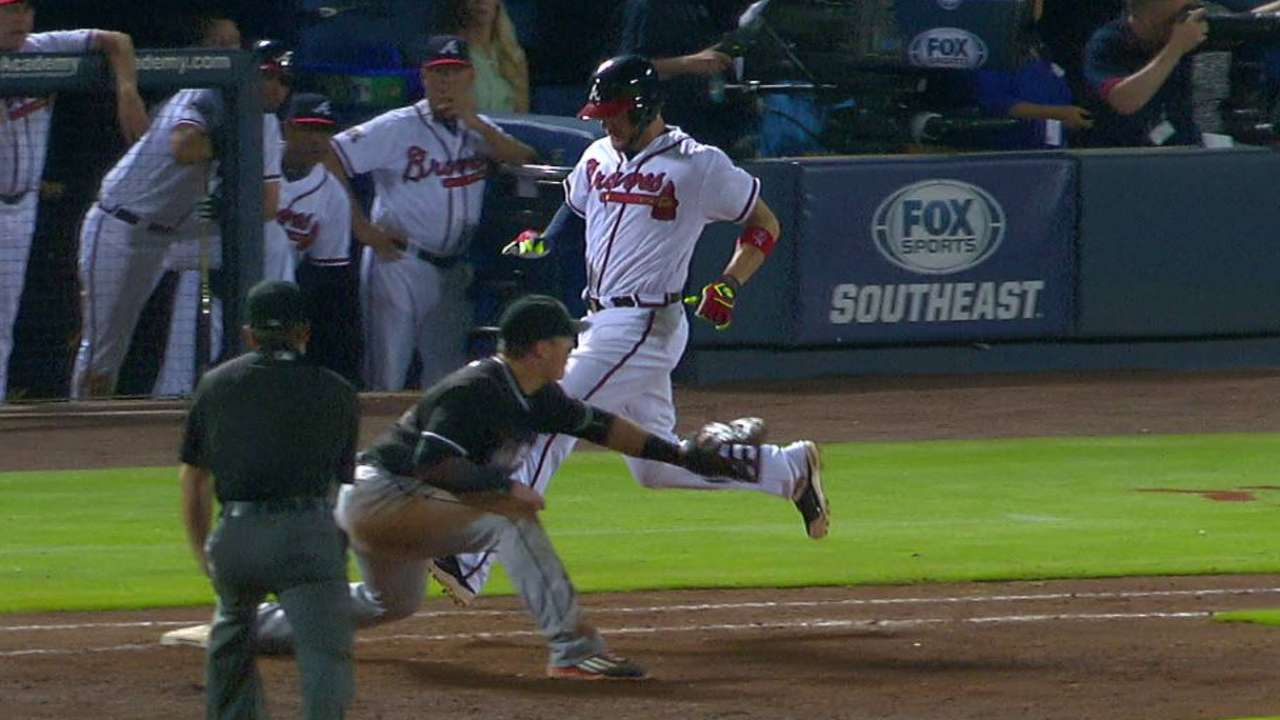 Braves review call at first